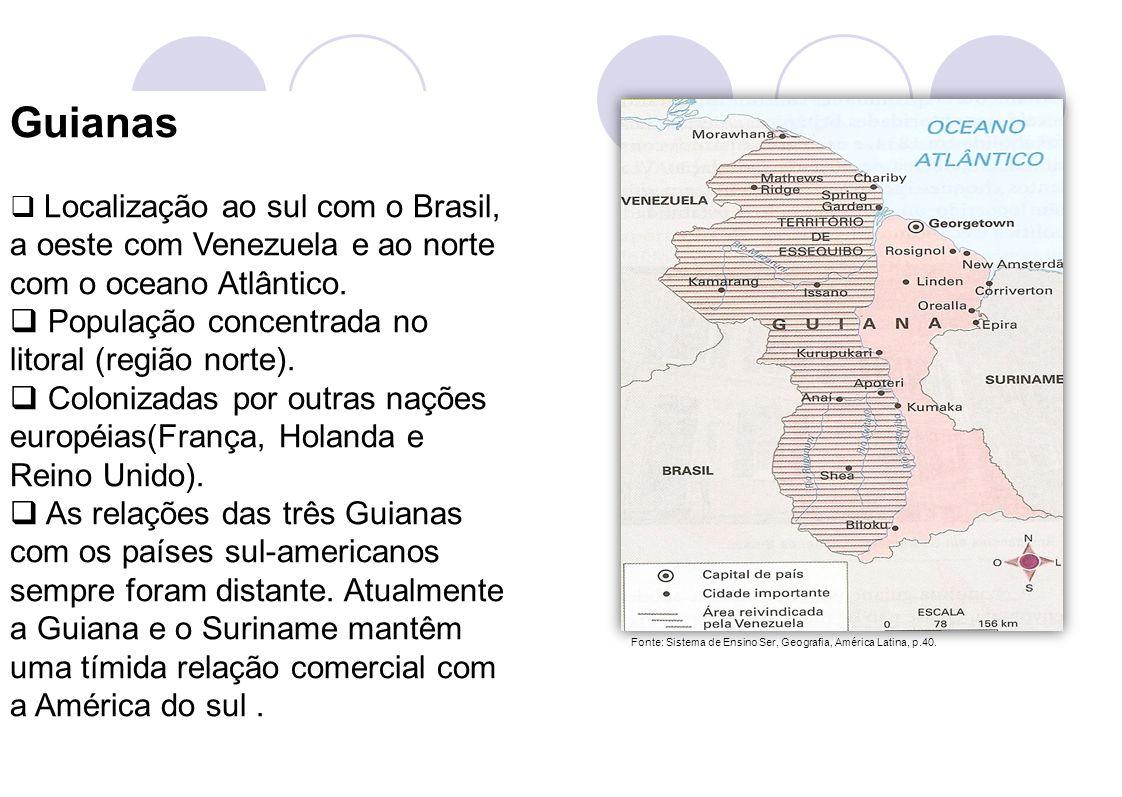 7 Guianas Localização ao sul com o Brasil, a oeste com Venezuela e ao norte com o oceano Atlântico. População concentrada no litoral (região norte). C