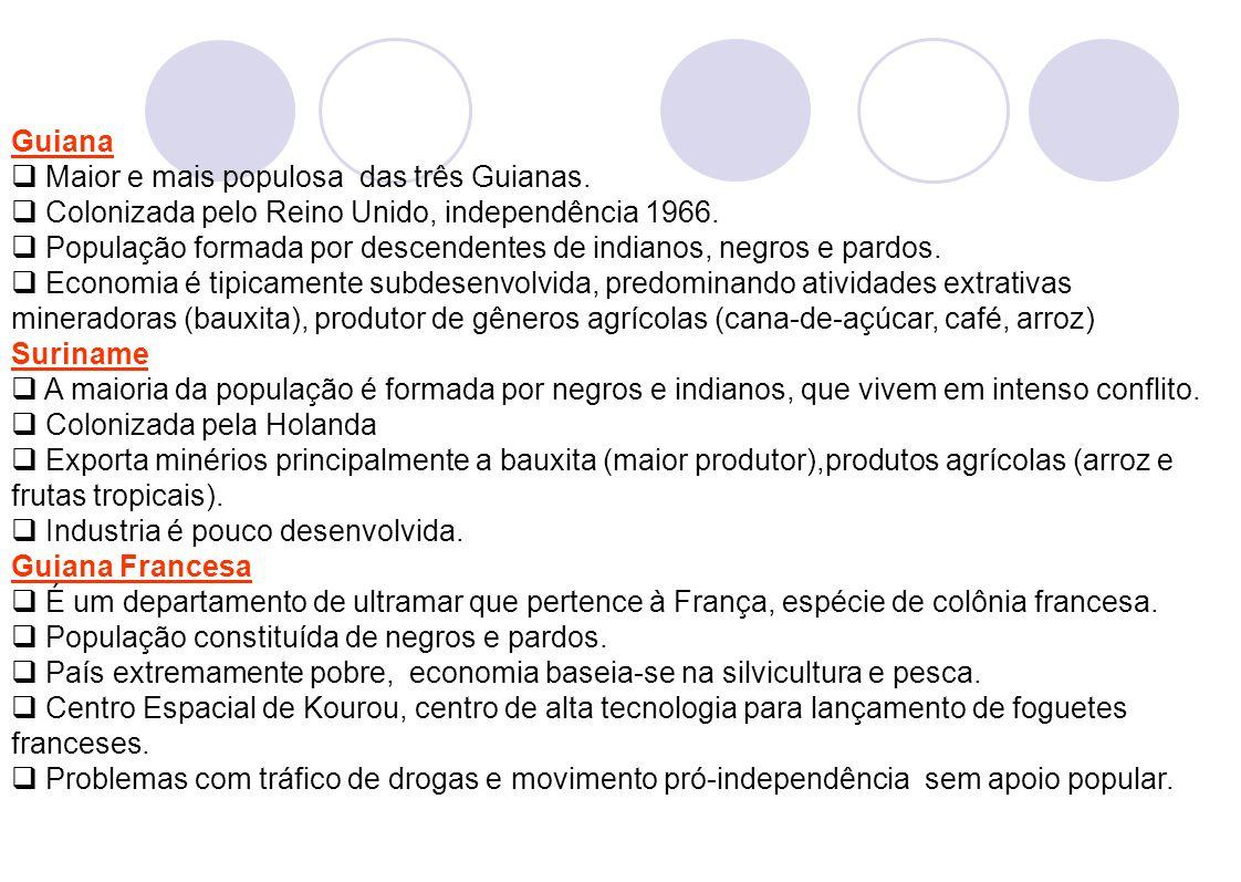 8 Guiana Maior e mais populosa das três Guianas. Colonizada pelo Reino Unido, independência 1966. População formada por descendentes de indianos, negr