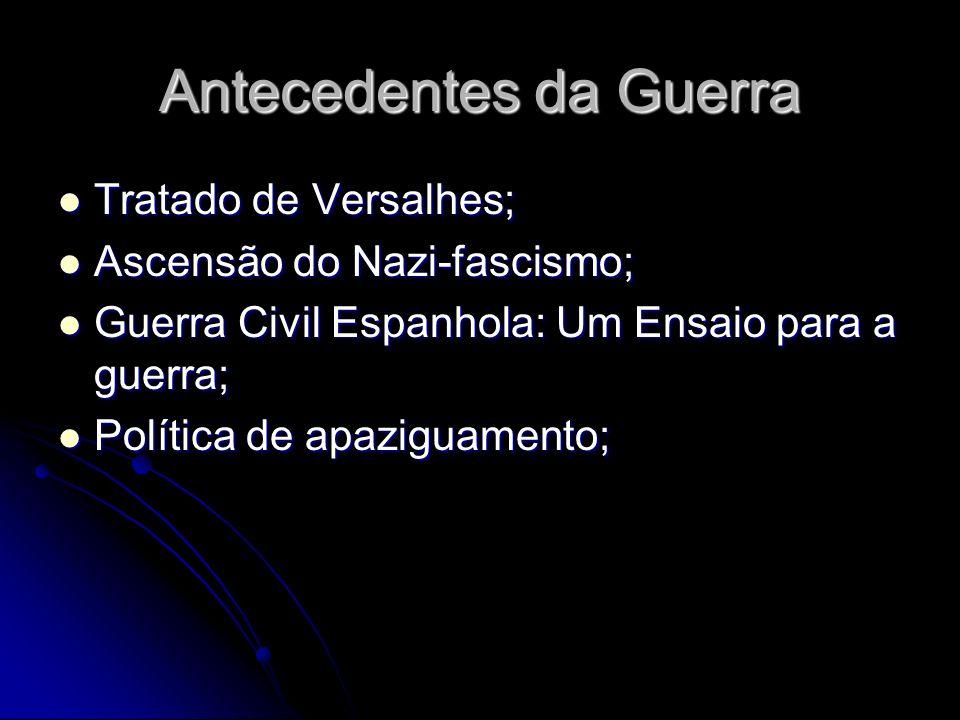 Antecedentes da Guerra Tratado de Versalhes; Tratado de Versalhes; Ascensão do Nazi-fascismo; Ascensão do Nazi-fascismo; Guerra Civil Espanhola: Um Ensaio para a guerra; Guerra Civil Espanhola: Um Ensaio para a guerra; Política de apaziguamento; Política de apaziguamento;