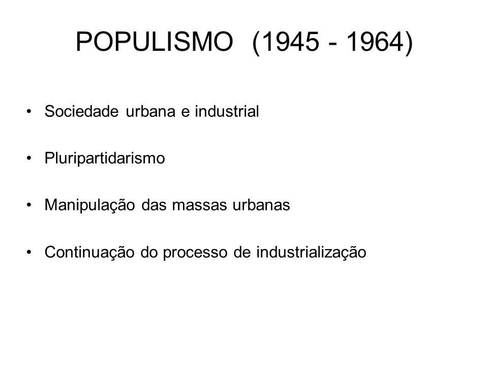POPULISMO (1945 - 1964) Sociedade urbana e industrial Pluripartidarismo Manipulação das massas urbanas Continuação do processo de industrialização