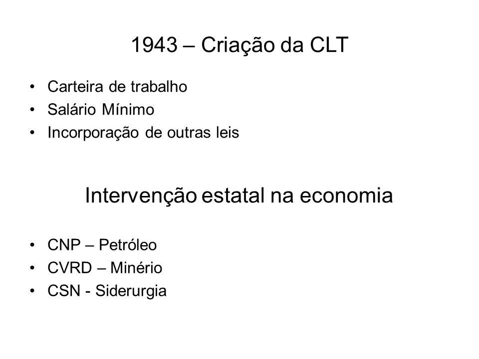 1943 – Criação da CLT Carteira de trabalho Salário Mínimo Incorporação de outras leis Intervenção estatal na economia CNP – Petróleo CVRD – Minério CS