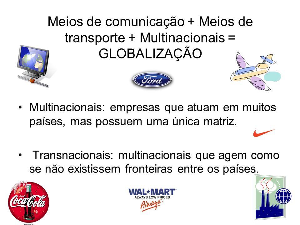 Meios de comunicação + Meios de transporte + Multinacionais = GLOBALIZAÇÃO Multinacionais: empresas que atuam em muitos países, mas possuem uma única matriz.