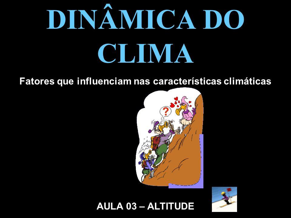 DINÂMICA DO CLIMA Fatores que influenciam nas características climáticas AULA 03 – ALTITUDE