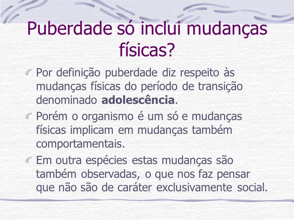 Puberdade só inclui mudanças físicas? Por definição puberdade diz respeito às mudanças físicas do período de transição denominado adolescência. Porém