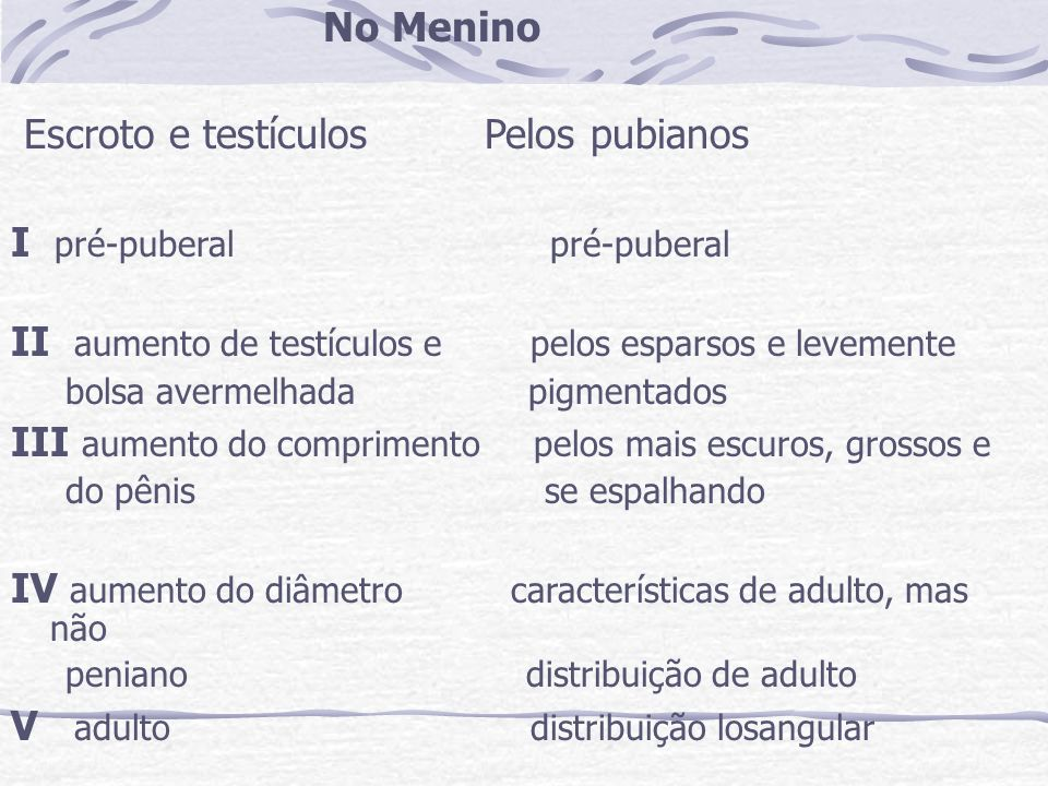 No Menino Escroto e testículos Pelos pubianos I pré-puberal pré-puberal II aumento de testículos e pelos esparsos e levemente bolsa avermelhada pigmen