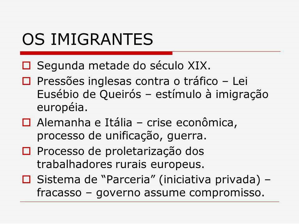 OS IMIGRANTES Segunda metade do século XIX. Pressões inglesas contra o tráfico – Lei Eusébio de Queirós – estímulo à imigração européia. Alemanha e It