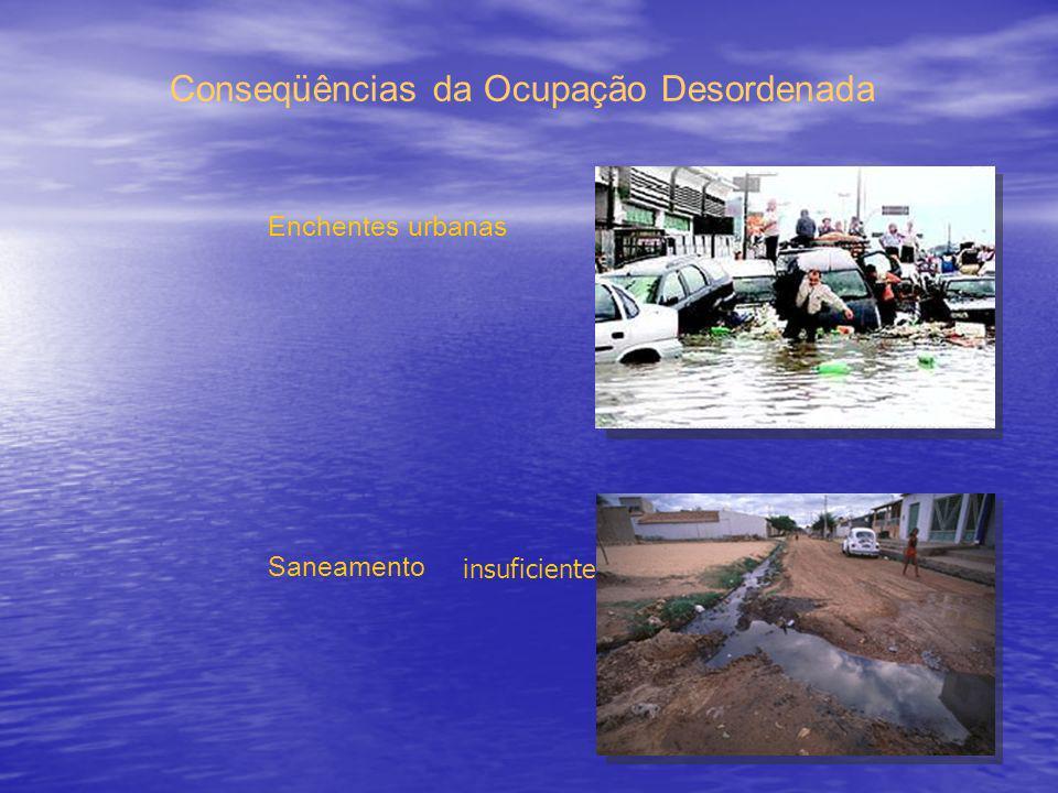 Enchentes urbanas Saneamento Conseqüências da Ocupação Desordenada insuficiente