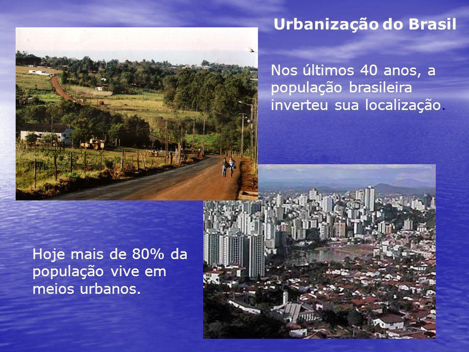 Nos últimos 40 anos, a população brasileira inverteu sua localização. Hoje mais de 80% da população vive em meios urbanos. Urbanização do Brasil