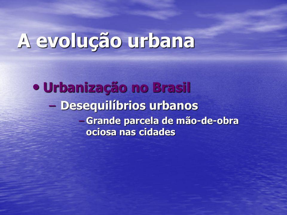 A evolução urbana Urbanização no Brasil Urbanização no Brasil –Desequilíbrios urbanos –Grande parcela de mão-de-obra ociosa nas cidades
