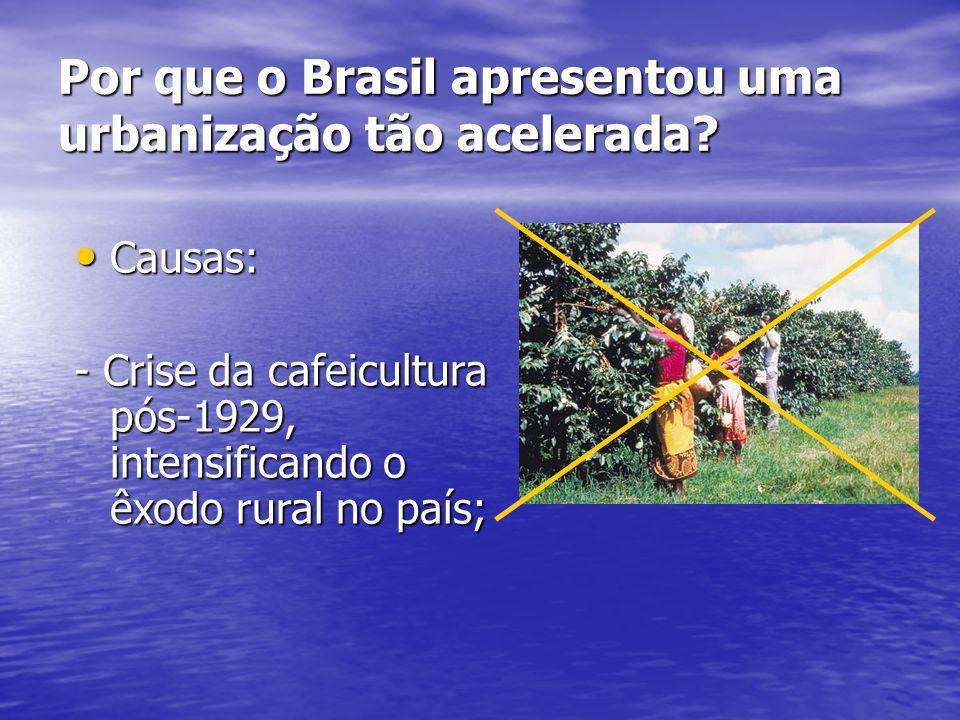 Por que o Brasil apresentou uma urbanização tão acelerada? Causas: Causas: - Crise da cafeicultura pós-1929, intensificando o êxodo rural no país;