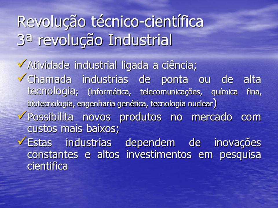Revolução técnico-científica 3ª revolução Industrial Atividade industrial ligada a ciência; Atividade industrial ligada a ciência; Chamada industrias