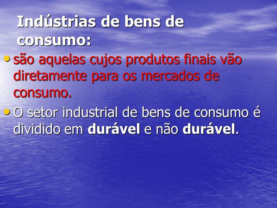 Indústrias de bens de consumo: são aquelas cujos produtos finais vão diretamente para os mercados de consumo. são aquelas cujos produtos finais vão di