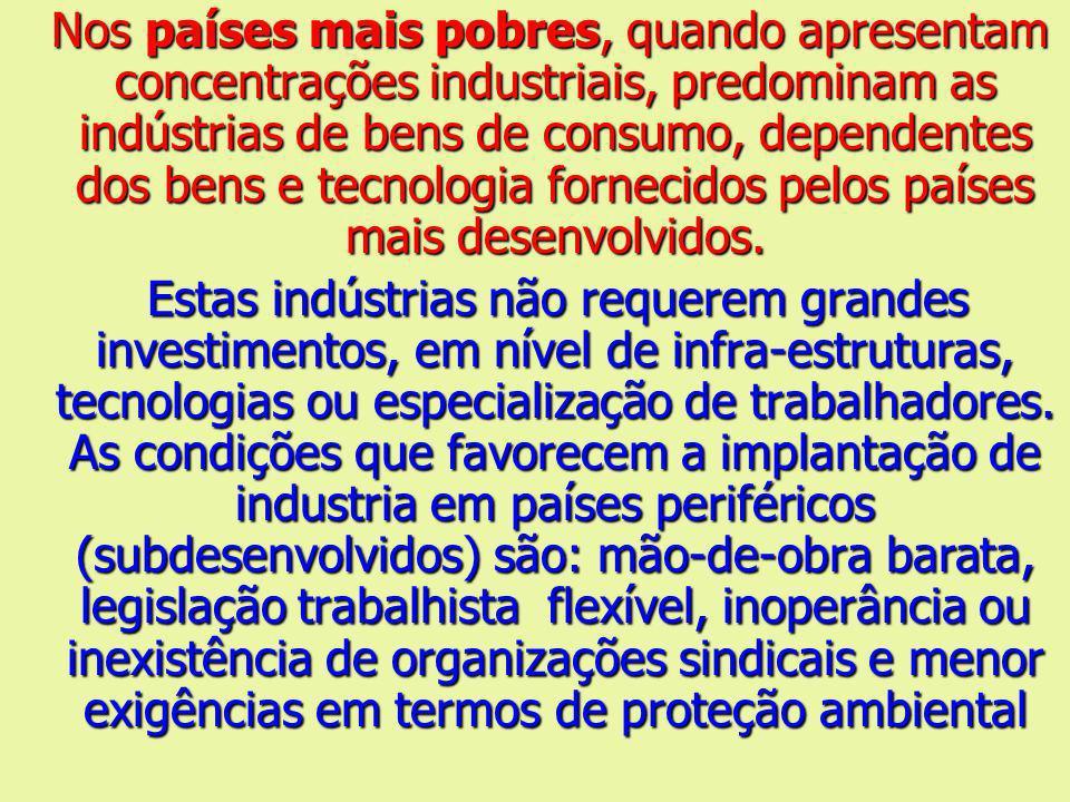 Nos países mais pobres, quando apresentam concentrações industriais, predominam as indústrias de bens de consumo, dependentes dos bens e tecnologia fo