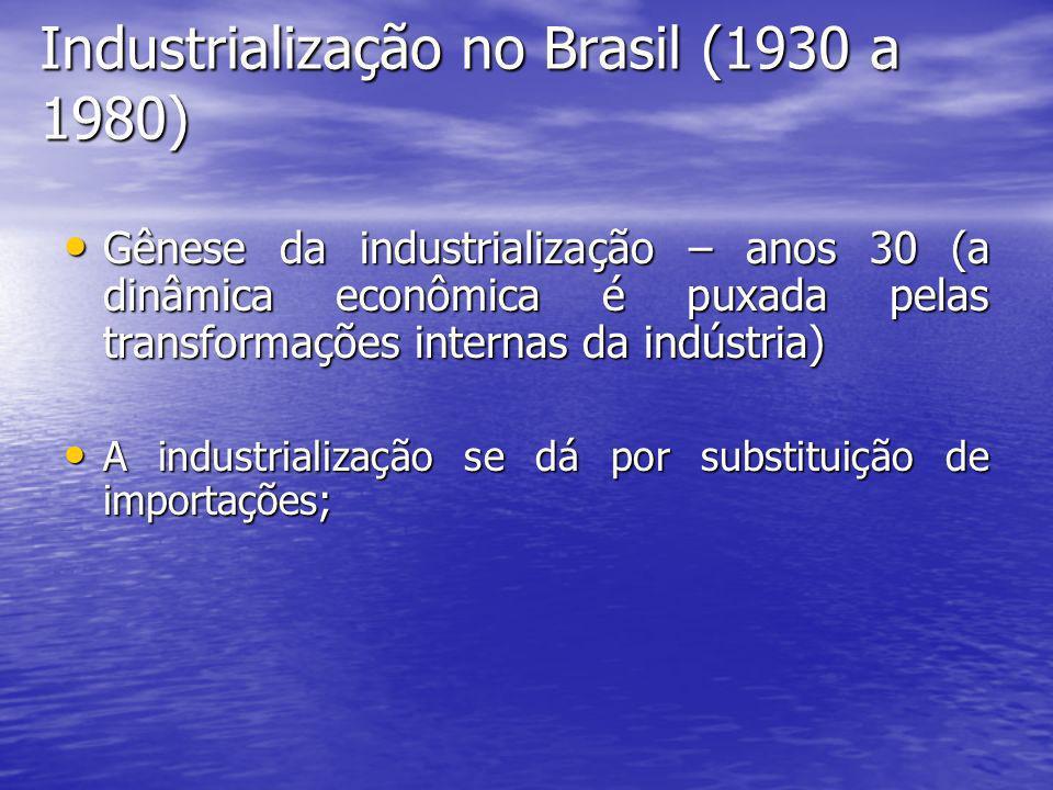 Industrialização no Brasil (1930 a 1980) Gênese da industrialização – anos 30 (a dinâmica econômica é puxada pelas transformações internas da indústri