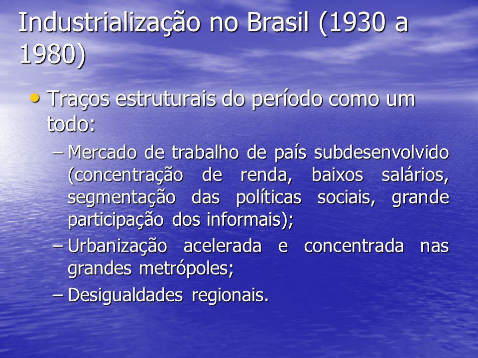 Industrialização no Brasil (1930 a 1980) Traços estruturais do período como um todo: Traços estruturais do período como um todo: –Mercado de trabalho