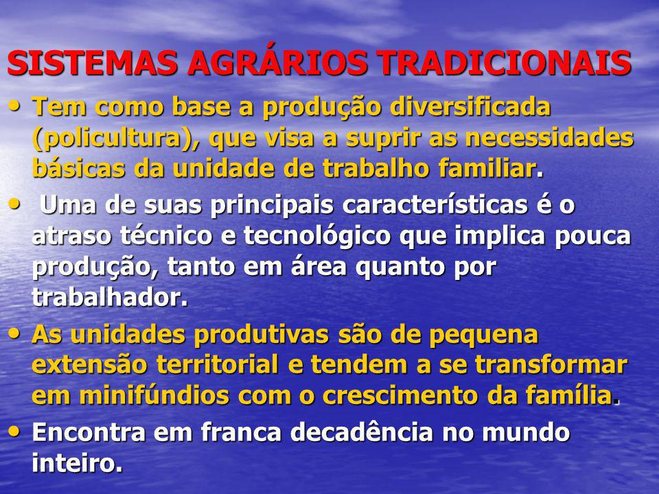 SISTEMAS AGRÁRIOS TRADICIONAIS Tem como base a produção diversificada (policultura), que visa a suprir as necessidades básicas da unidade de trabalho