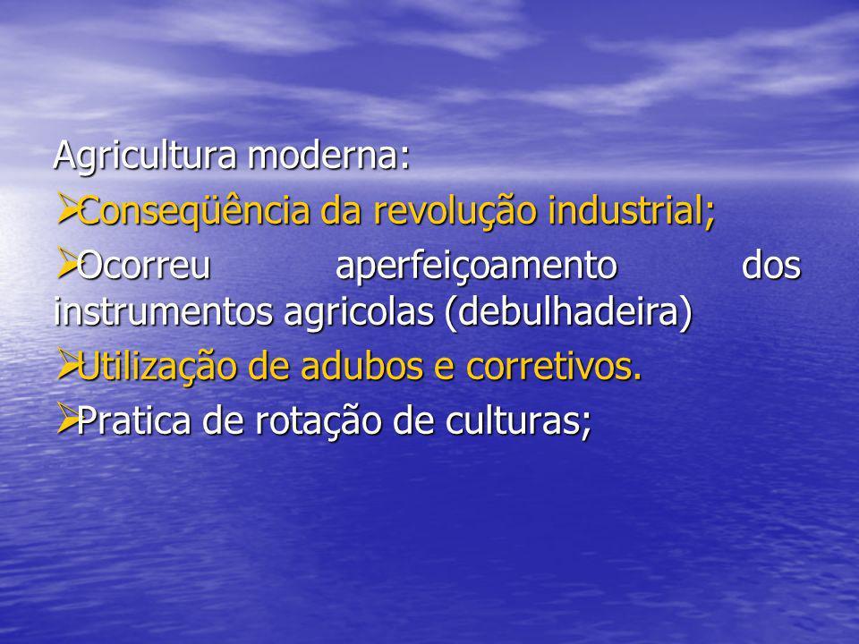 Agricultura moderna: Conseqüência da revolução industrial; Conseqüência da revolução industrial; Ocorreu aperfeiçoamento dos instrumentos agricolas (d