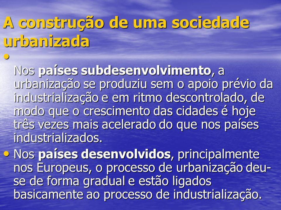 A construção de uma sociedade urbanizada Nos países subdesenvolvimento, a urbanização se produziu sem o apoio prévio da industrialização e em ritmo de