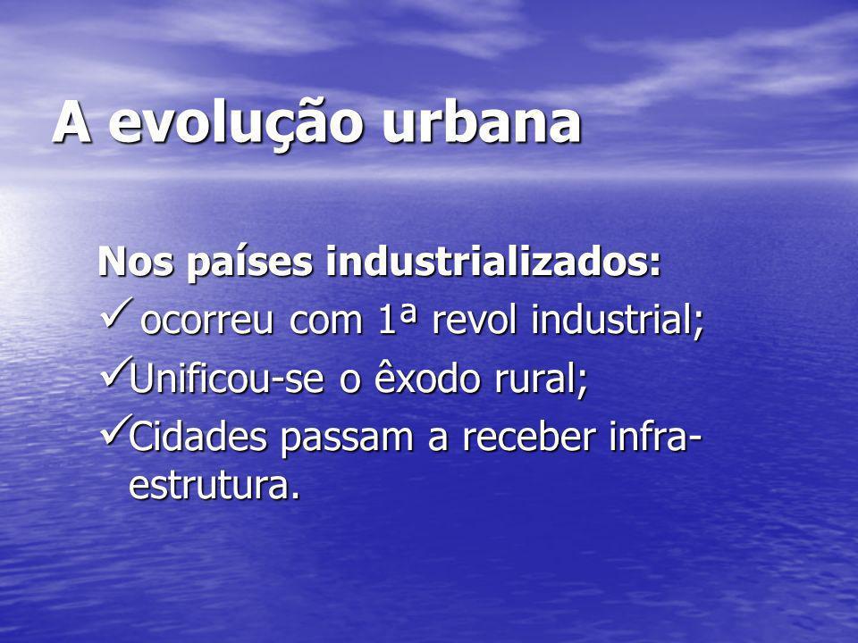 A evolução urbana Nos países industrializados: ocorreu com 1ª revol industrial; ocorreu com 1ª revol industrial; Unificou-se o êxodo rural; Unificou-s