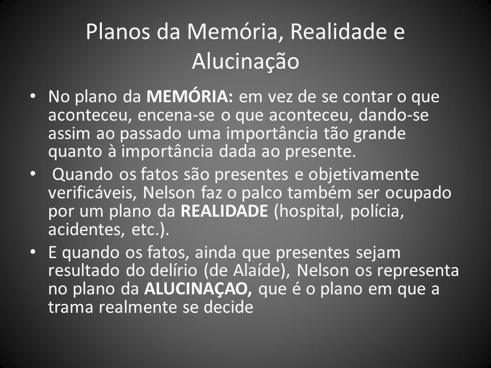 Planos da Memória, Realidade e Alucinação No plano da MEMÓRIA: em vez de se contar o que aconteceu, encena-se o que aconteceu, dando-se assim ao passa