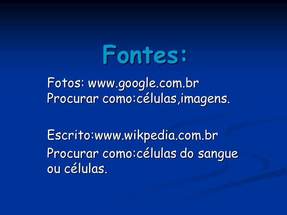 Fontes: Fotos: www.google.com.br Procurar como:células,imagens.