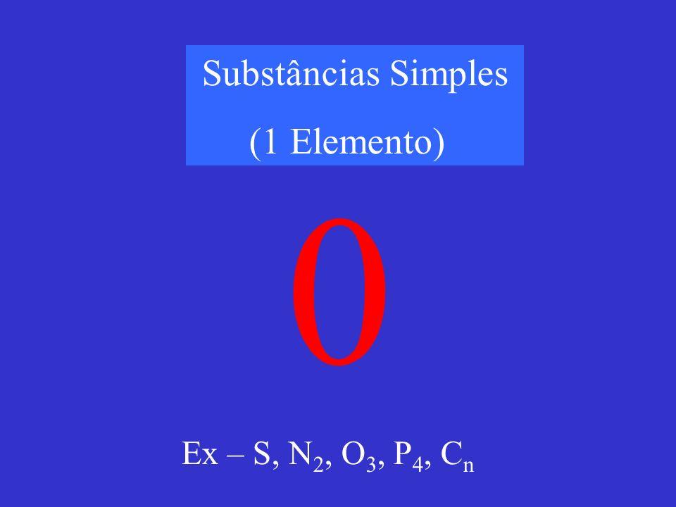 Substâncias Simples (1 Elemento) 0 Ex – S, N 2, O 3, P 4, C n