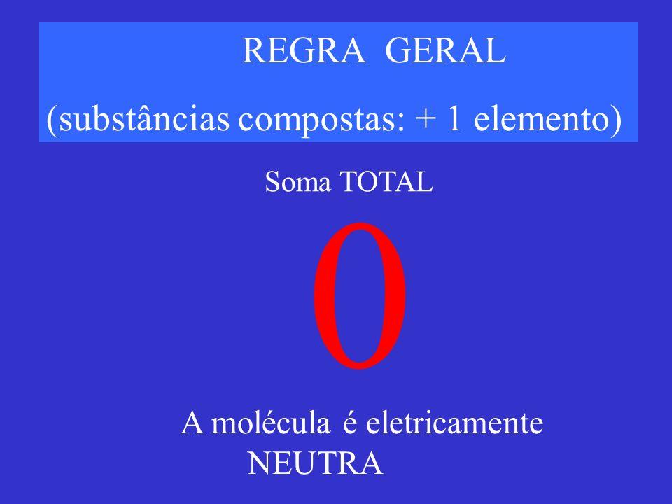 REGRA GERAL (substâncias compostas: + 1 elemento) 0 A molécula é eletricamente NEUTRA Soma TOTAL