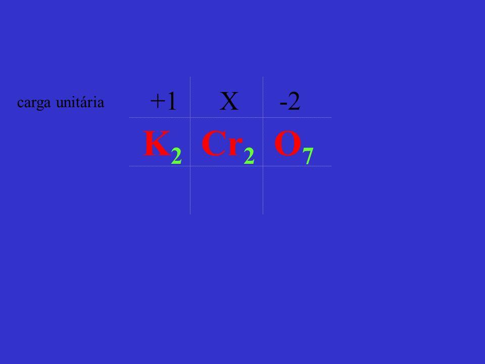 carga unitária K 2 Cr 2 O 7 +1 X -2