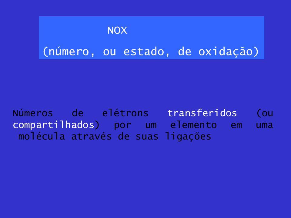 NOX (número, ou estado, de oxidação) Números de elétrons transferidos (ou compartilhados) por um elemento em uma molécula através de suas ligações