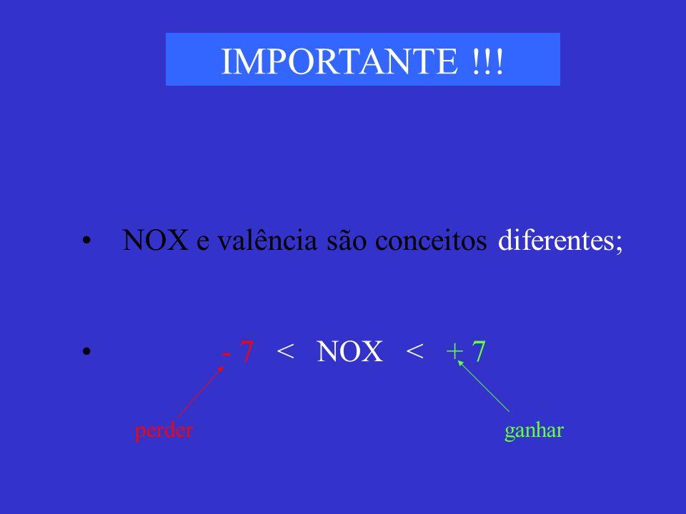 IMPORTANTE !!! NOX e valência são conceitos diferentes; - 7 < NOX < + 7 perderganhar