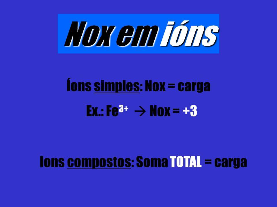 Nox em ións Íons simples: Nox = carga Ex.: Fe 3+ Nox = +3 Ions compostos: Soma TOTAL = carga