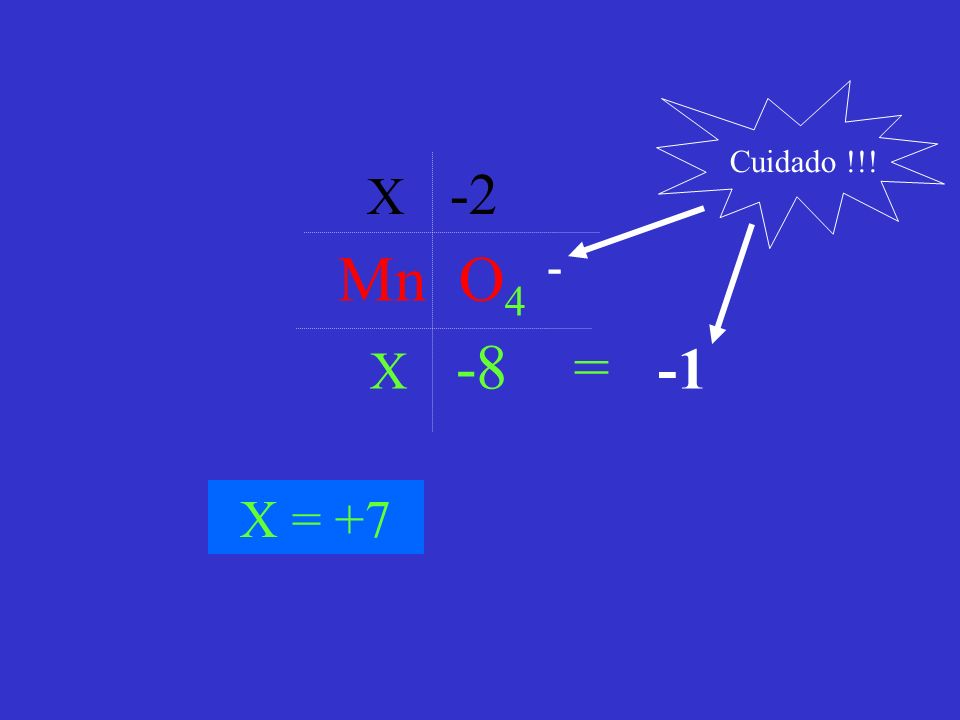 Mn O 4 - X -2 X -8 = -1 X = +7 Cuidado !!!