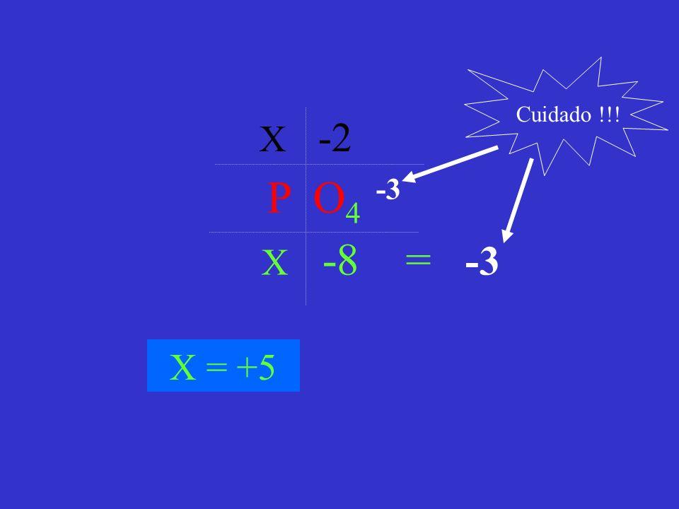 P O 4 -3 X -2 X -8 = -3 X = +5 Cuidado !!!