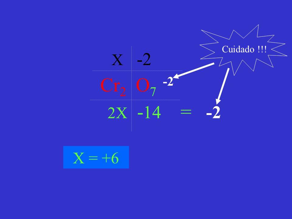 Cr 2 O 7 -2 X -2 2X - 14 = -2 X = +6 Cuidado !!!
