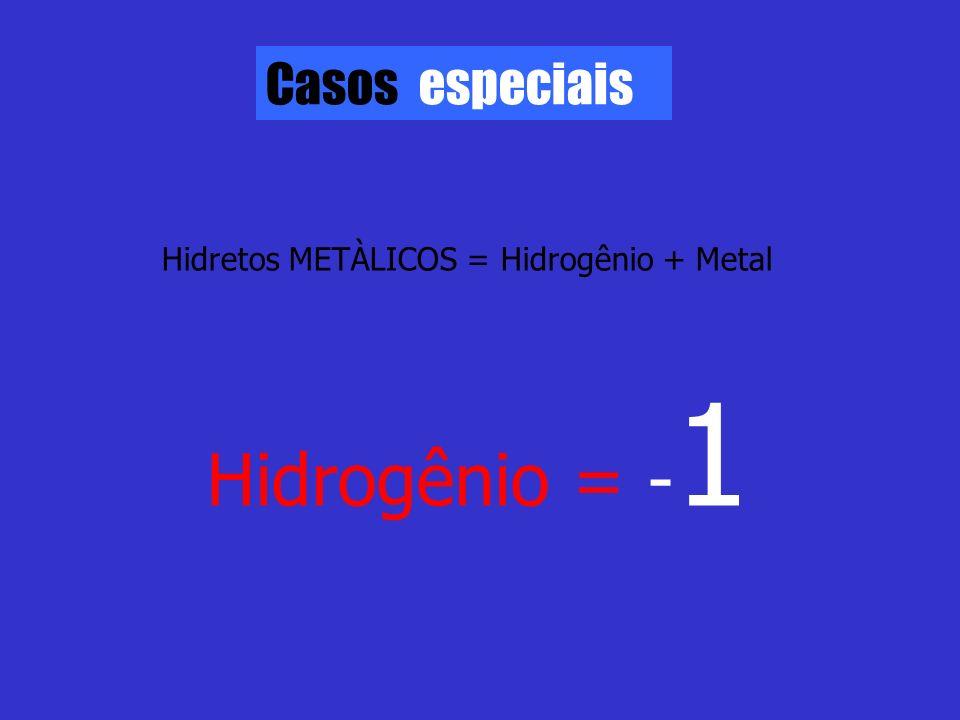 Casos especiais Hidretos METÀLICOS = Hidrogênio + Metal Hidrogênio = - 1