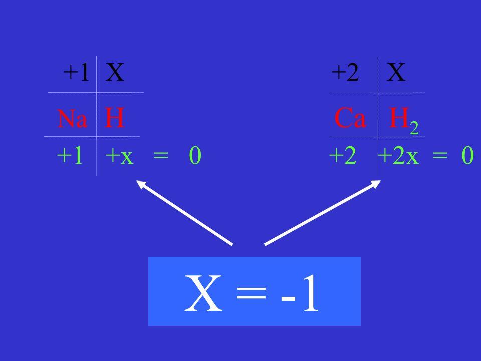 Na H Ca H 2 +1 X +2 X +1 +x = 0 +2 +2x = 0 X = -1