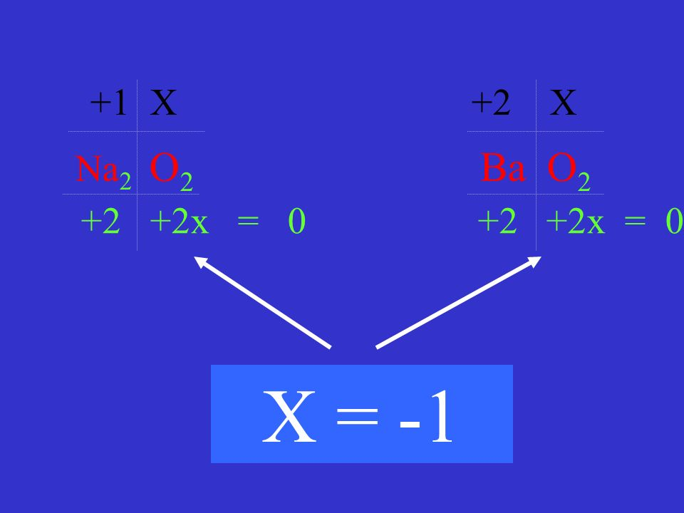 Na 2 O 2 Ba O 2 +1 X +2 X +2 +2x = 0 X = -1