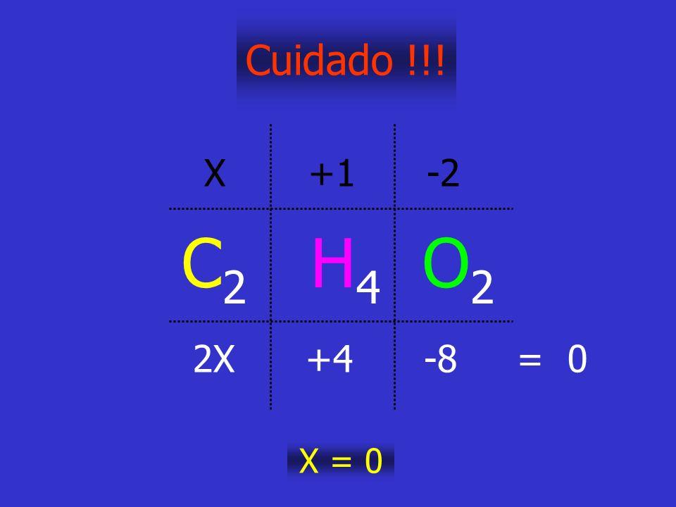 Cuidado !!! C 2 H 4 O 2 X +1 -2 2X +4 -8 = 0 X = 0