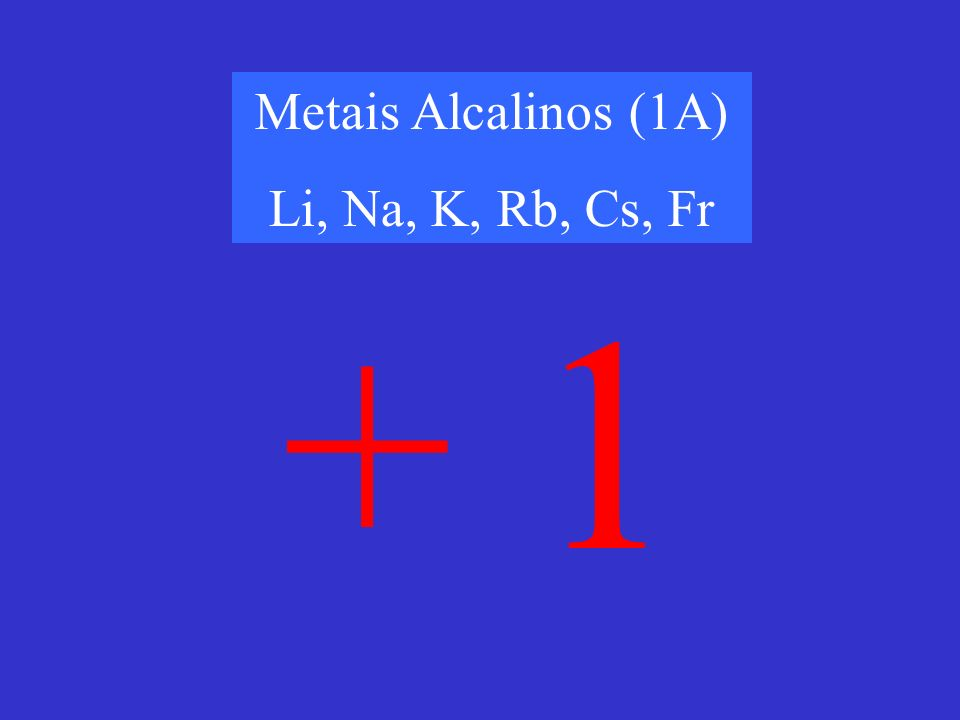Metais Alcalinos (1A) Li, Na, K, Rb, Cs, Fr + 1