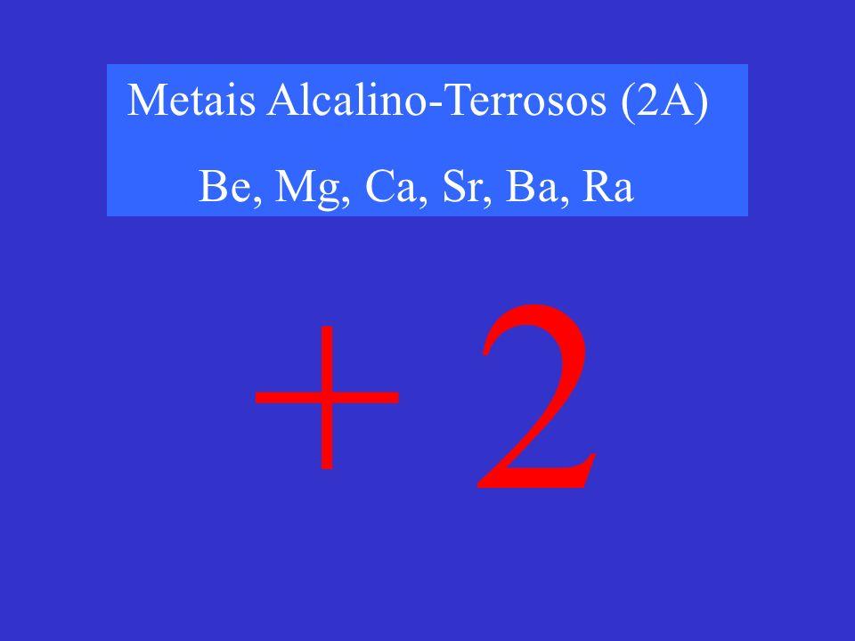 Metais Alcalino-Terrosos (2A) Be, Mg, Ca, Sr, Ba, Ra + 2