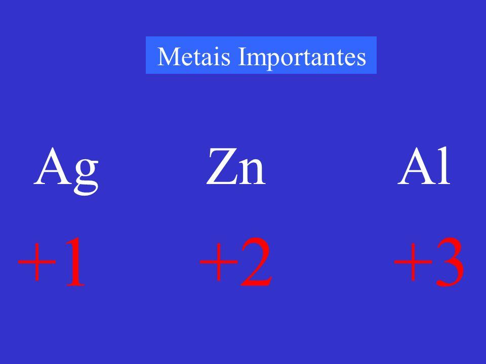 Metais Importantes +1 +2 +3 Ag Zn Al
