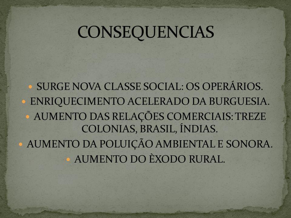SURGE NOVA CLASSE SOCIAL: OS OPERÁRIOS. ENRIQUECIMENTO ACELERADO DA BURGUESIA. AUMENTO DAS RELAÇÕES COMERCIAIS: TREZE COLONIAS, BRASIL, ÍNDIAS. AUMENT