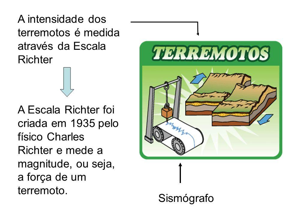 A intensidade dos terremotos é medida através da Escala Richter Sismógrafo A Escala Richter foi criada em 1935 pelo físico Charles Richter e mede a ma