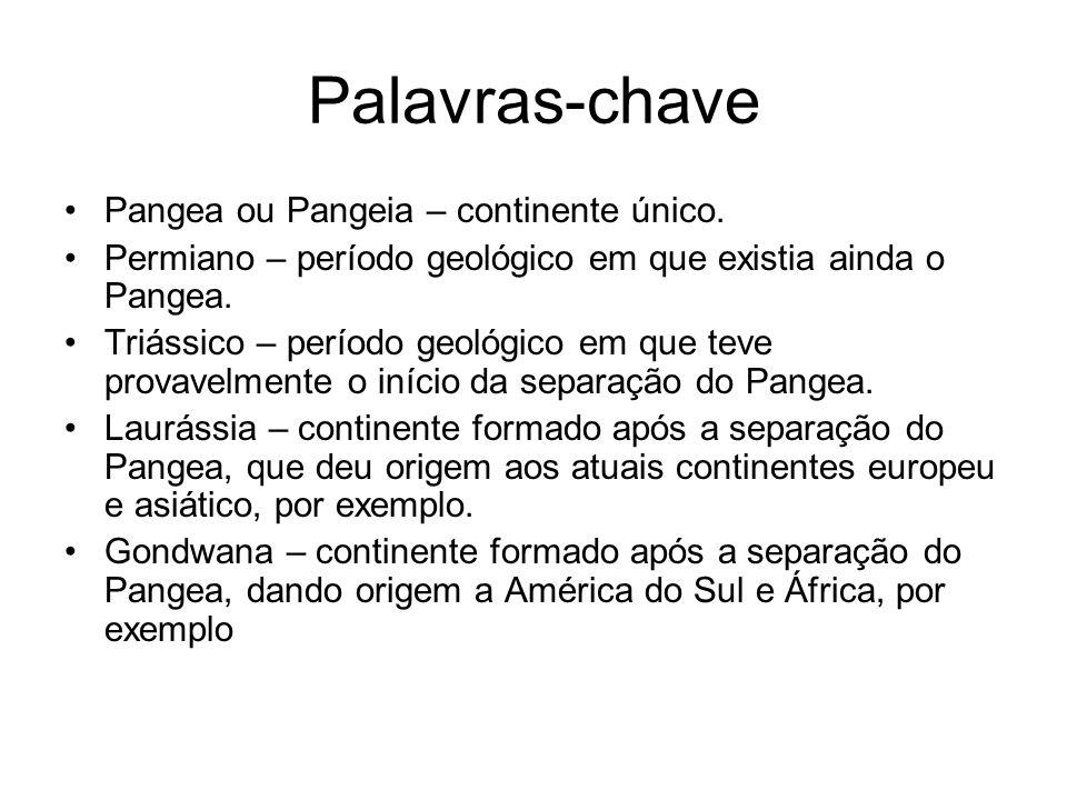 Palavras-chave Pangea ou Pangeia – continente único. Permiano – período geológico em que existia ainda o Pangea. Triássico – período geológico em que