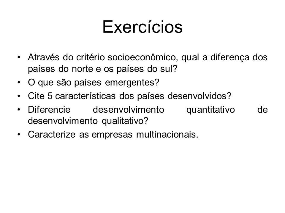 Exercícios Através do critério socioeconômico, qual a diferença dos países do norte e os países do sul.