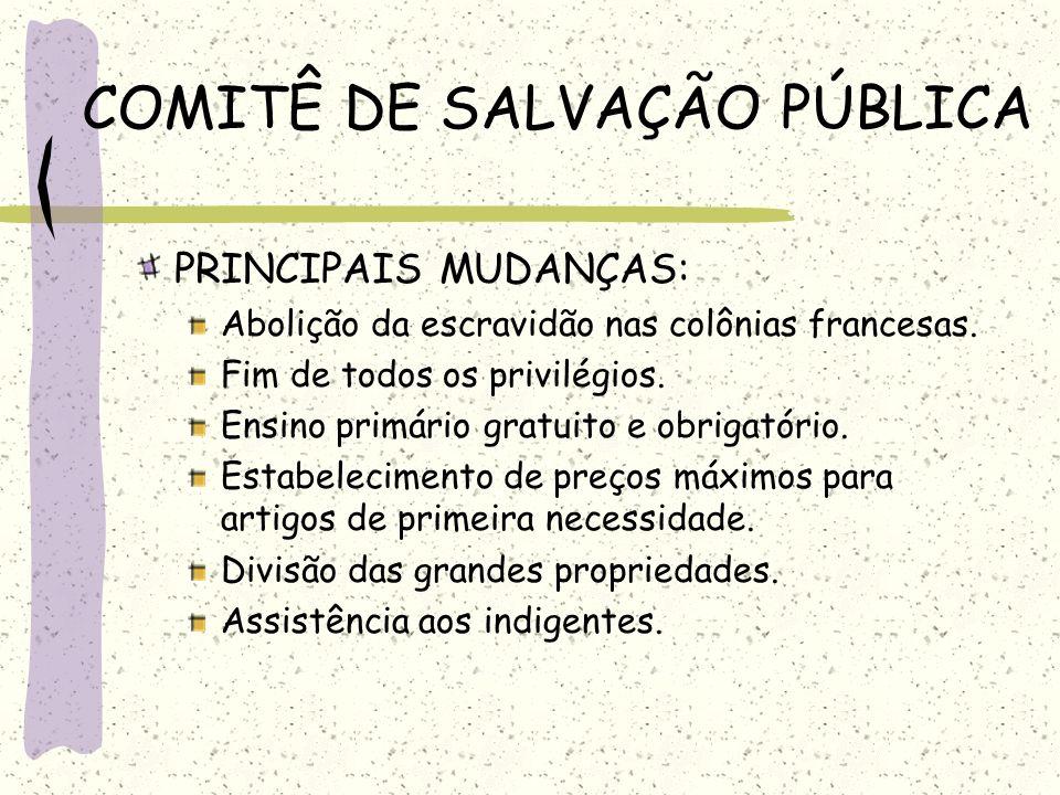 COMITÊ DE SALVAÇÃO PÚBLICA PRINCIPAIS MUDANÇAS: Abolição da escravidão nas colônias francesas. Fim de todos os privilégios. Ensino primário gratuito e