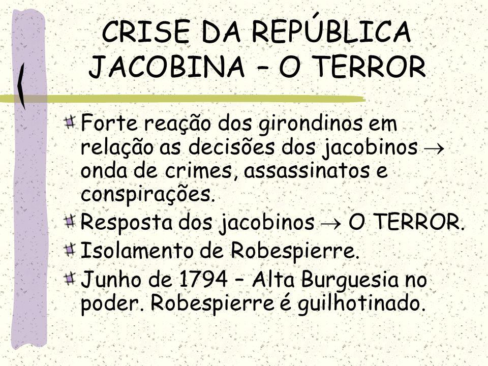CRISE DA REPÚBLICA JACOBINA – O TERROR Forte reação dos girondinos em relação as decisões dos jacobinos onda de crimes, assassinatos e conspirações. R