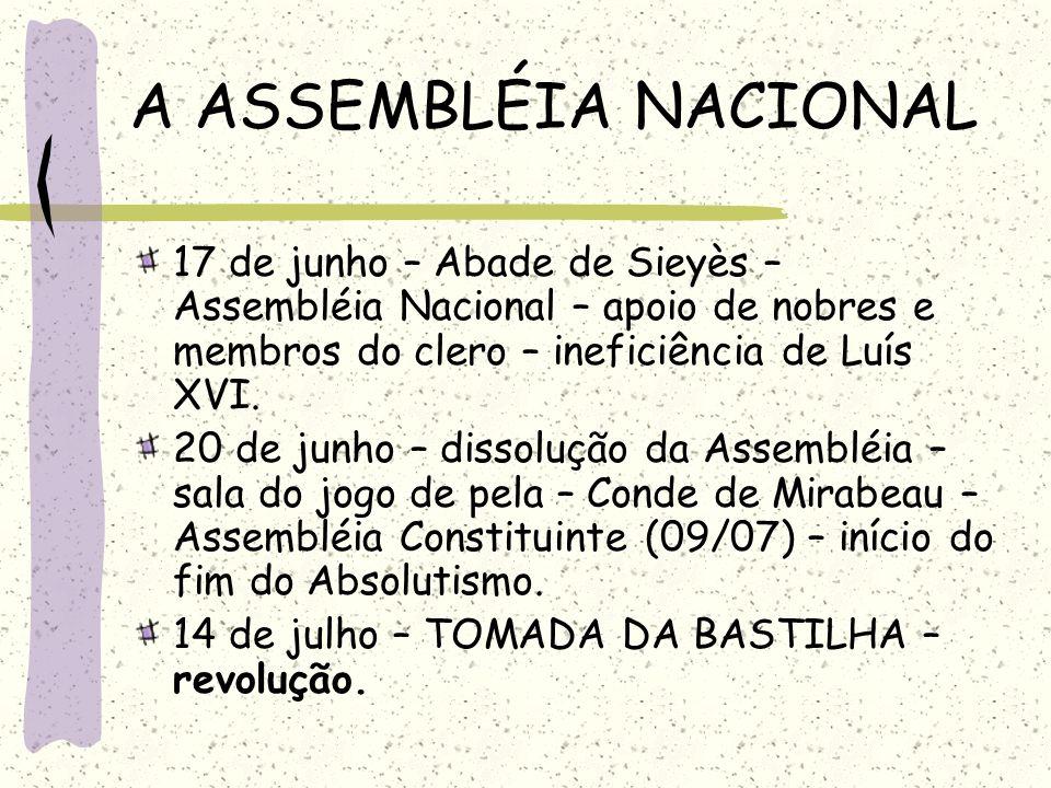 A ASSEMBLÉIA NACIONAL 17 de junho – Abade de Sieyès – Assembléia Nacional – apoio de nobres e membros do clero – ineficiência de Luís XVI. 20 de junho