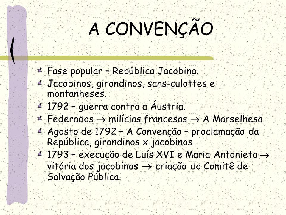 A CONVENÇÃO Fase popular – República Jacobina. Jacobinos, girondinos, sans-culottes e montanheses. 1792 – guerra contra a Áustria. Federados milícias