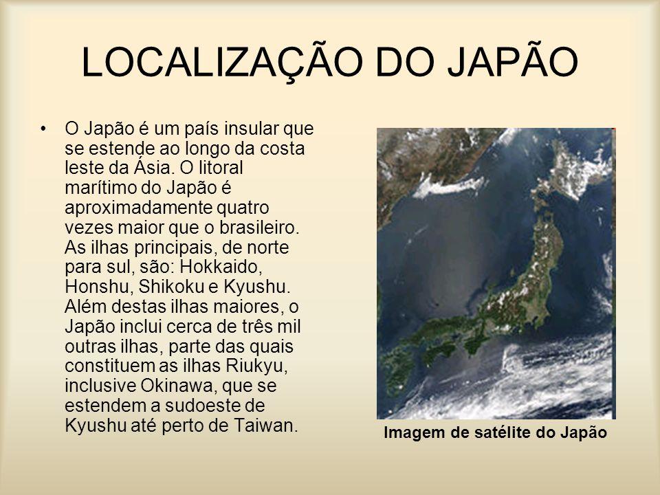 LOCALIZAÇÃO DO JAPÃO O Japão é um país insular que se estende ao longo da costa leste da Ásia. O litoral marítimo do Japão é aproximadamente quatro ve
